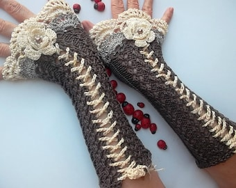 Crocheted Cotton Gloves Cuffs Ready To Ship Victorian Fingerless Summer Women Wedding Lace Evening Retro Hand Knitted Party Brown Corset B30