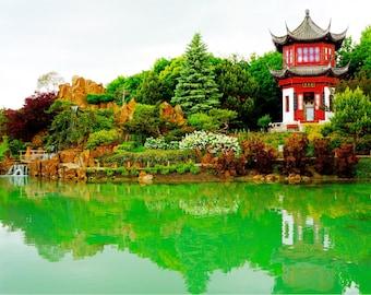 Montreal Botanical Gardens Print, Travel Photography, Canada, Chinese Garden, Fine Art Photography, Green Decor, Large Wall Art - The Pagoda