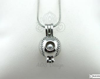 Pearl Cage Necklace Baseball Sports Ball Summer Sport Silver Plated Locket Charm