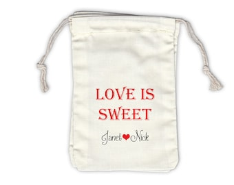 Love Is Sweet Personalized Cotton Bags for Wedding Favors in Red and Black - Ivory Fabric Drawstring Bags - Set of 12 (1012)