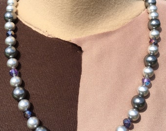 gray pearl and dark AB crystal necklace set 23""