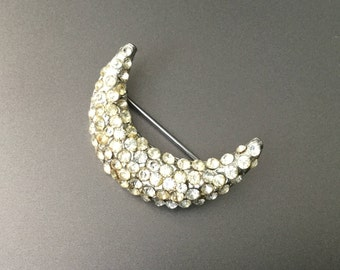 Art Deco Crescent Moon Pavé Rhinestone Brooch - Vintage Brooch