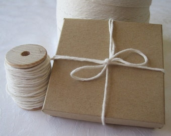 25 Yards Cotton Twine, Bakers Twine, Natural Twine, White String, Gift Wrapping, Gift Wrap, Box Twine, Bakery Twine, On Wood Spool