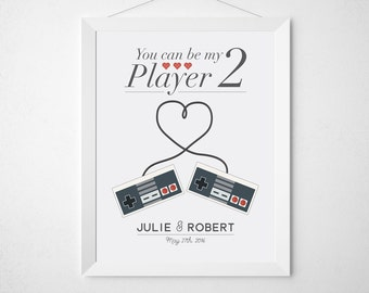 Wedding Print Personalized Wedding Gift for Couples - Gamer geek video game controller co-op - newlywed engagement anniversary gift player 2
