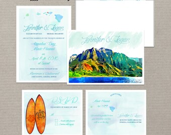 Hawaii Islands Watercolor  illustrated wedding invitation RSVP Beach Mountain Surfboard surfing Destination wedding DEPOSIT Payment