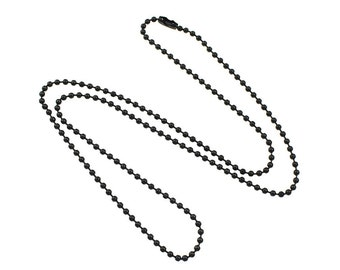 Black Stainless Steel Ball Chain 2mm - 23.5 Inch