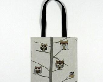 Sleepy owls book bag - Shopping bag - Tote bag - Lined fabric bag - Library bag - Book tote - Bag with owls