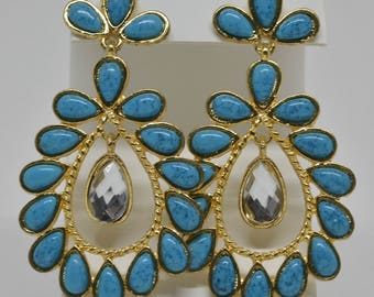 Gorgeous Large Teal Color and Crystal Earring