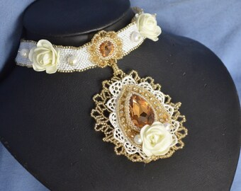 White and Gold Beaded Choker Necklace Flower, Swarovski Crystal, Pearl, Lace Pendant Choker Beach Wedding Bridal Jewelry Artisan Jewelry