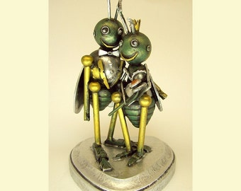 Love Bugs Wedding Cake Topper Insect Bride with Crown and Groom with Tuxedo Wood Statues