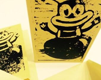 Handmade linocut notecards--Coney Island Bee Ride