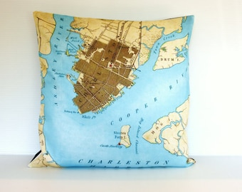 Map cushion cover pillow city maps CHARLESTON map cushion, map pillow  organic cotton 16 inch cushion