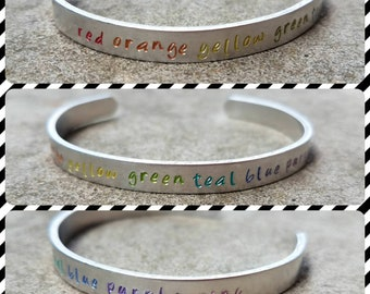 CUSTOM COLOR/PHRASE Hand Stamped Aluminum Cuff Bracelet - Colorful - Unique - Special - Rainbow - Creative - Customize - Personalize