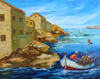 Painting, painting, painting sea painting ocean painting ocean painting knife, the side of the fisherman