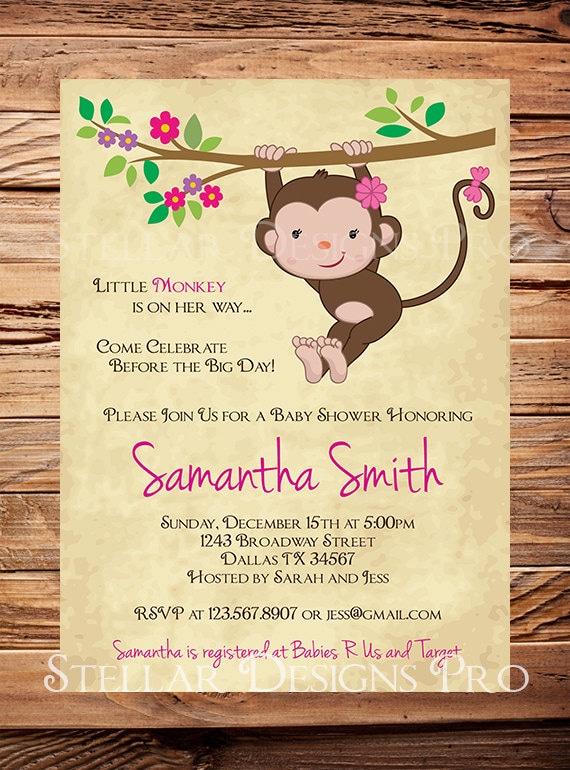 Monkey baby shower invitation little monkey boy girl girl filmwisefo