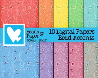 10 Digital Papers in rainbow colors with beads embellishments Clip Art Digital Scrapbooking
