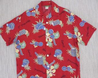 Vintage Hawaiian Shirt 80s ESPRIT EDC Group Hawaii Musical Ukulele Drums Flute Pineapple Hibiscus Mod Aloha Mens - M -Oahu Lew's Shirt Shack