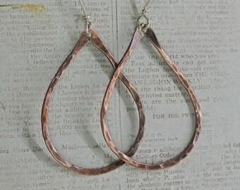 Antiqued Copper Hoop Earrings Hammered in Teardrop Shape
