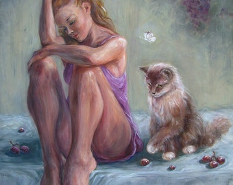 Original Acrylic Painting On Canvas, 70x60 cm Of An Young Beautiful Woman And A Cute Cat