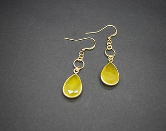 Yellow Chalcedony Drop Earrings (Gold Plated)
