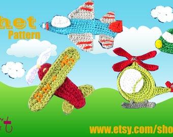 Air transportation set crochet Applique Pattern