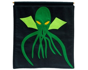Cthulhu- Appliqued Eco Felt  Wall Hanging in Deep Navy and Pirate Green