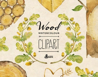 Wood Watercolour Clipart: 7 digital files. Hand painted, watercolour clipart,  diy elements, wood, wreath, frame, invite, oak