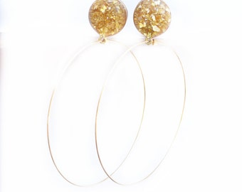 Gold Crushed Glass with Hoops Dangle Plugs / 8g, 6g, 4g, 2g, 0g, 00g, 1/2, 9/16, 5/8 in / Gold Dangle Gauges / Hoop Plugs / Glass Plugs