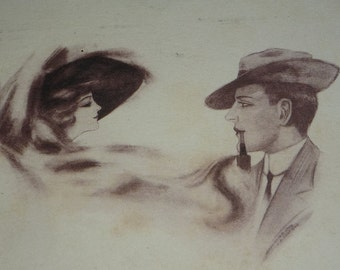 A/S Cobb Shinn Edwardian Couple Romance  Antique Postcard