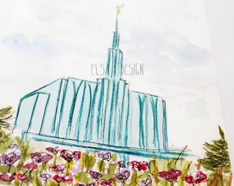 Seattle, Washington - Watercolor Temple 8x10 print by Elsa Ferre