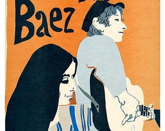 "Bob Dylan and Joan Baez poster print - 13""x19"" or 24""x36"" - Folk Music - Greenwich Village - 60's music scene - Bob Dylan and Joan Baez"
