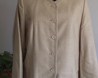 Orvis Silk Women's Jacket Button Front Long Sleeve Camel Tan Fully Lined Sportswomen Cottage Chic Resort Vacation Professional Mod Hip Sz 12