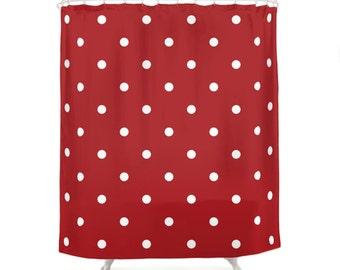 5 Warm Color Options Polka Dots Shower Curtains, Bathroom Shower Curtain, Minimal Pattern Design, Home Decor, Vintage Art