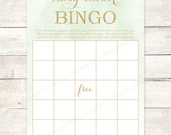baby shower bingo game card printable DIY mint gold glitter watercolor gender neutral watercolour digital shower games - INSTANT DOWNLOAD