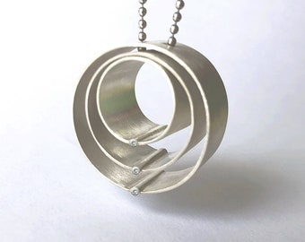 """Sterling silver and diamond pendant, """"Family Circle"""""""