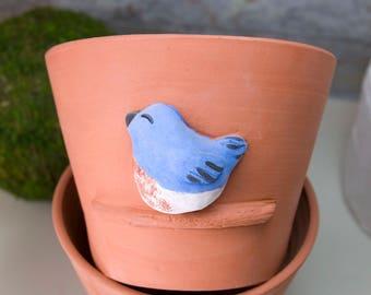 Terra Cotta Planter with Blue Bird