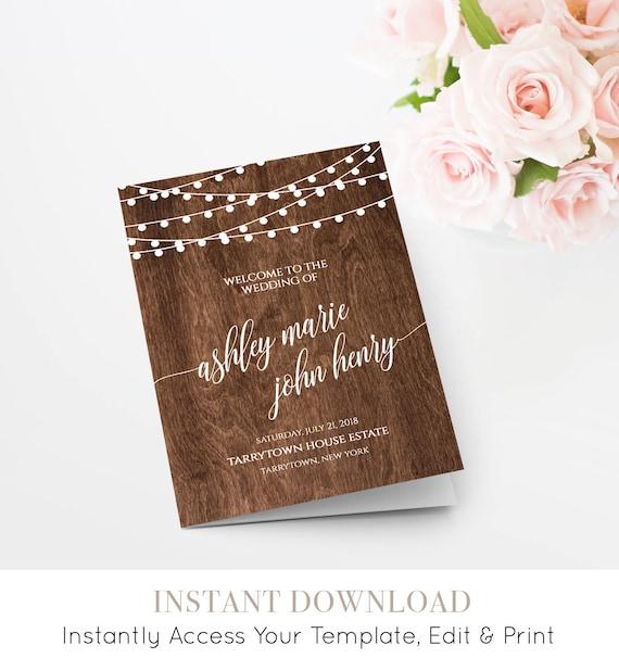 Wedding Program Printable, Rustic Wood String Lights, Ceremony, Order of Service, Instant Download, 100% Editable Template, DIY #014-111WP