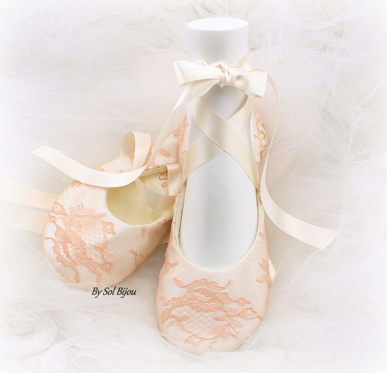 Peach Flats Ballet Flats Nude Flats Ivory Lace Flats