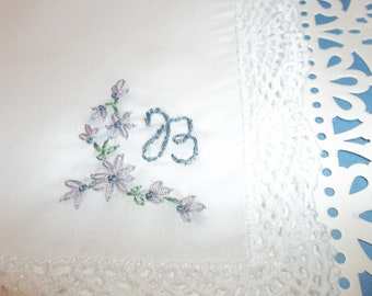 monogrammed  gift, personalized hanky, wedding handkerchief, by hand, custom colors welcome, personalized birthday gift, blue for bride