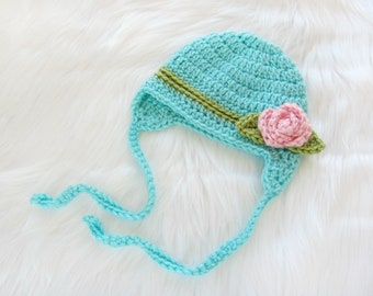 Baby Girl Hat, Aqua Crochet newborn hat , Baby Hat, Baby Girl Beanie, Baby Newborn Hat, Girl Baby Hat, Newborn Baby Hat