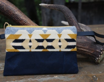 Pendleton wool & waxed canvas zippered leather wristlet bag
