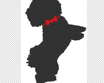 Dog Silhouette - Bichon - Embroidery Design File - Instant Download - 2 sizes multiple formats