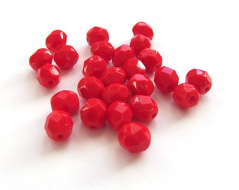 Opaque Red Faceted Round Czech Glass Beads, 6mm - 25 pieces