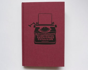 Typewriter Burgundy Maroon A5 Hardcover Blank Page Notebook