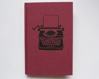 Typewriter Burgundy Maroon A5 Hardcover Blank Page Notebook