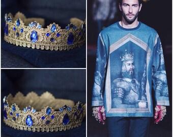 king crown, medieval crown, mens crown, renaissance crown, of throne costume, LARP, tudor, dolce crown, mens game of costume, blue crown