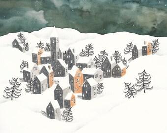 A3 Art Print, Winter Landscape Ochre Houses, Illustration, Watercolor, Pencils, Soft Pastels and Pen