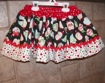 Twirly Girls Skirt, Custom Skirt, Infant..Christmas Hooty Twirly..Available in 0-12 months, 1/2, 3/4, 5/6, 7/8, 9/10 Bigger Sizes Available
