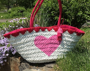 Hand painted straw market bag