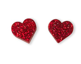 Red Heart Glitter Earrings - Glitter Basics Love Valentine Cute Tiny Studs Post Small Sparkle Perspex Acrylic